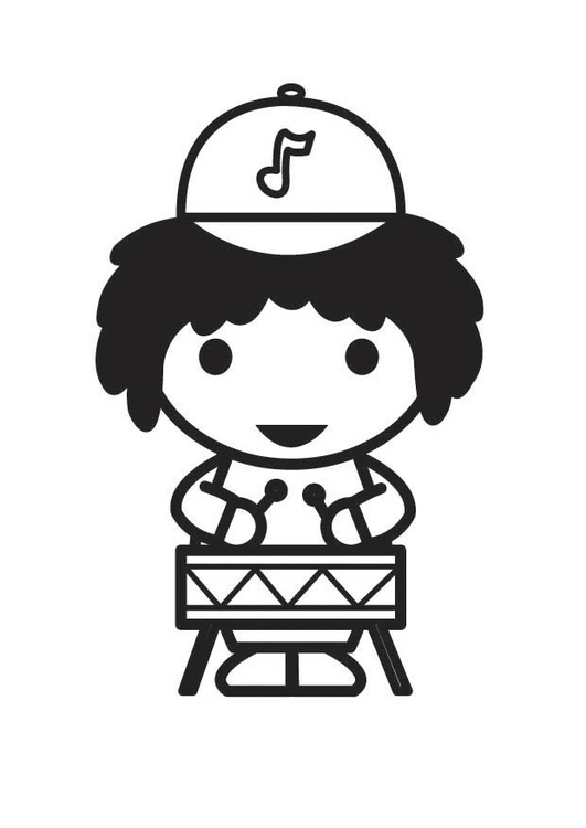 Coloring page Musician - Drummer