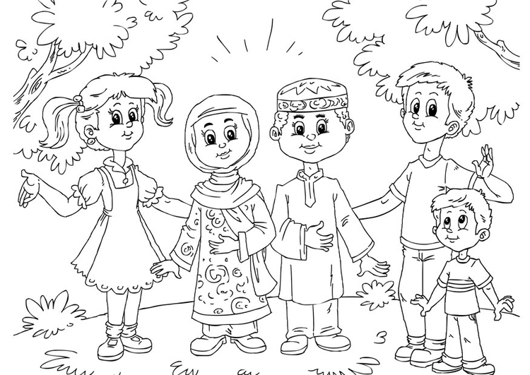 Coloring page Muslim children with Western children