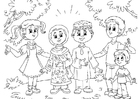 Coloring pages Muslim children with Western children