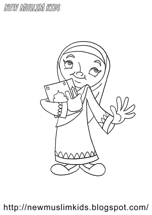 Coloring page muslim girl