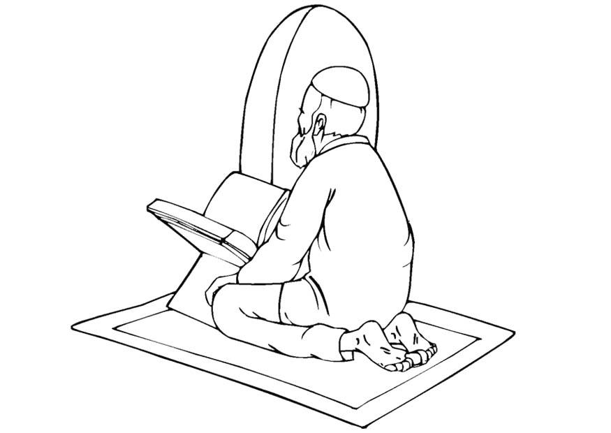Coloring page muslim praying - img 11275.