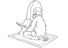 Coloring page muslim praying