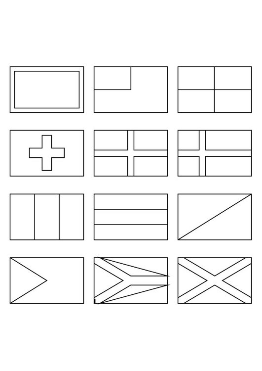 Coloring page national flags