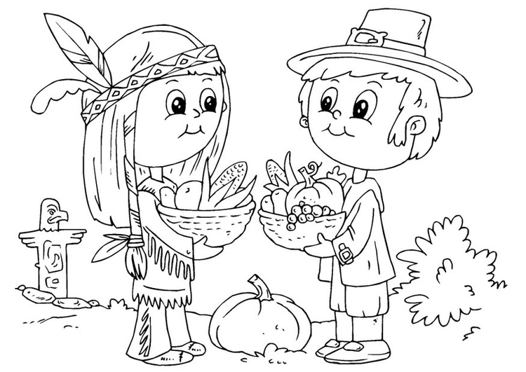Coloring page native American and pilgrim