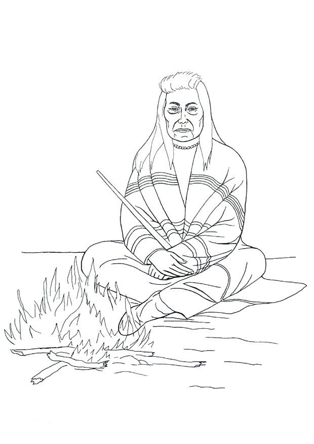 Coloring page native american campfire img 9905