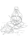 Coloring page native american campfire