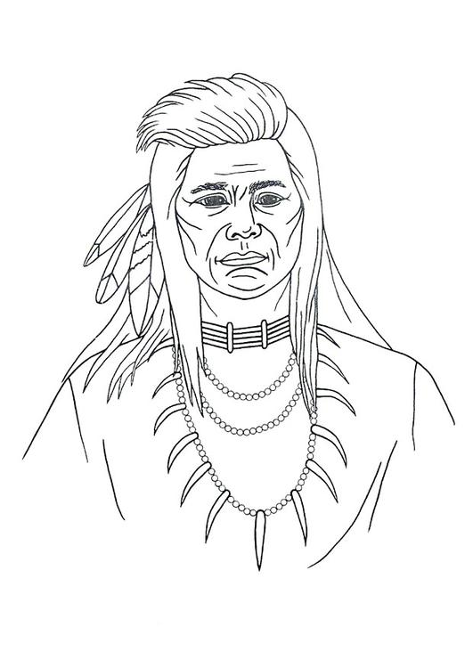 Coloring page native american - img 9906.