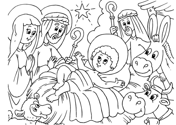 Coloring page nativity scene - birth of Jesus