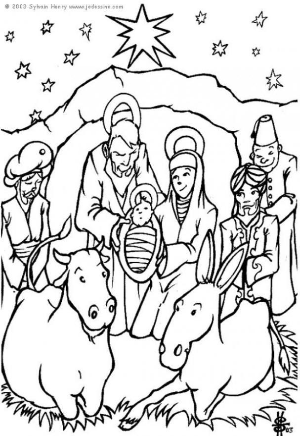 Coloring Page Nativity Scene
