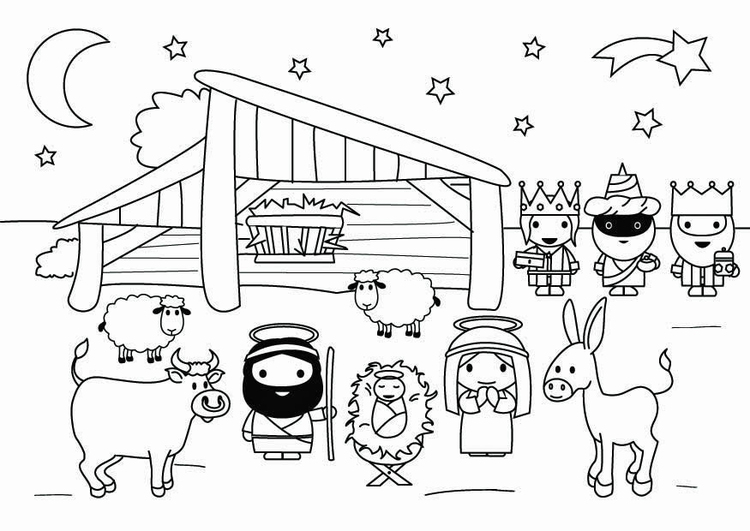 Coloring page nativity scene