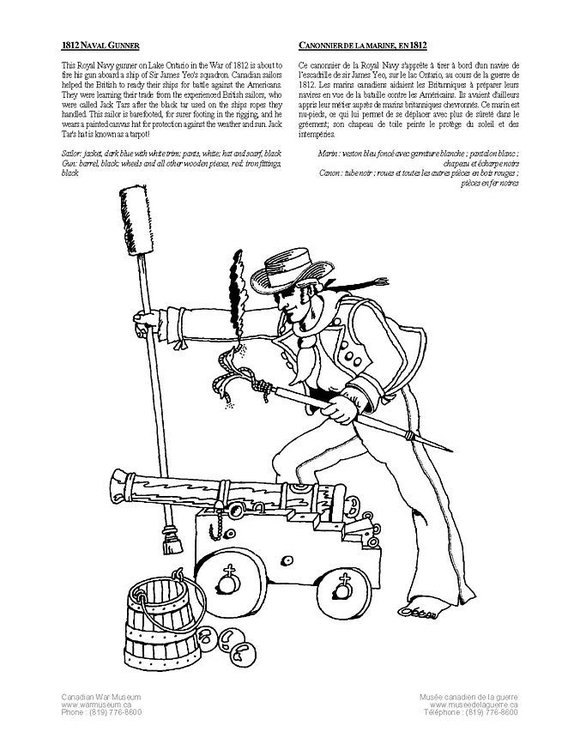 Coloring page naval gunner