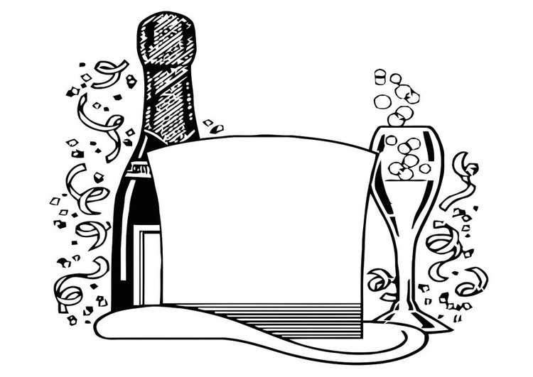 Coloring page new year party