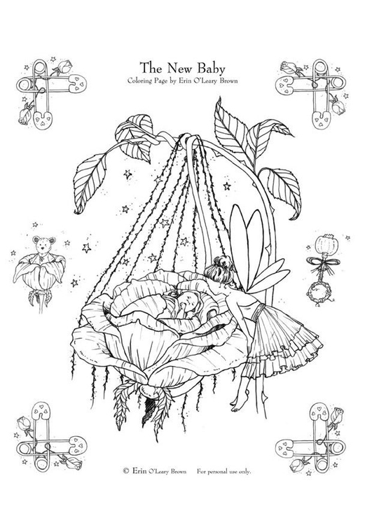 coloring page newborn child