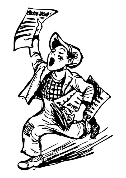 Coloring page newspaper vendor