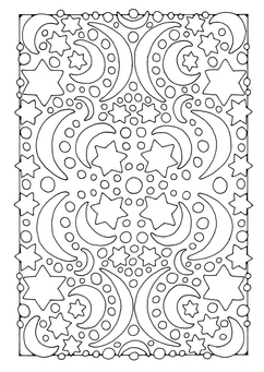Coloring page night - moon and stars