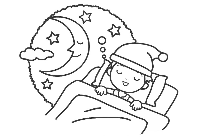Coloring page night - sleep