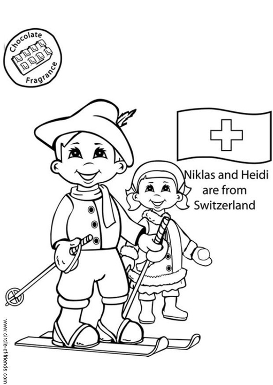 Coloring page Niklas and Heidi from Switzerland