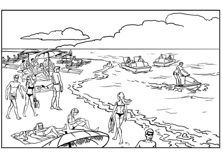 Coloring page ocean and beach