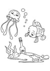 Coloring page octopus and fish with bottle