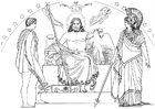 Coloring page Oddyseus - Hermes, Zeus and Athena