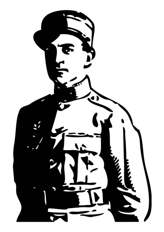Coloring page Officer in the 2nd World War