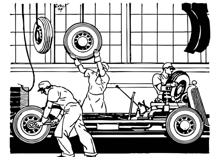 Coloring page Old Automobile Factory
