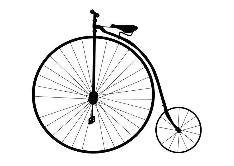 Coloring page old bicycle