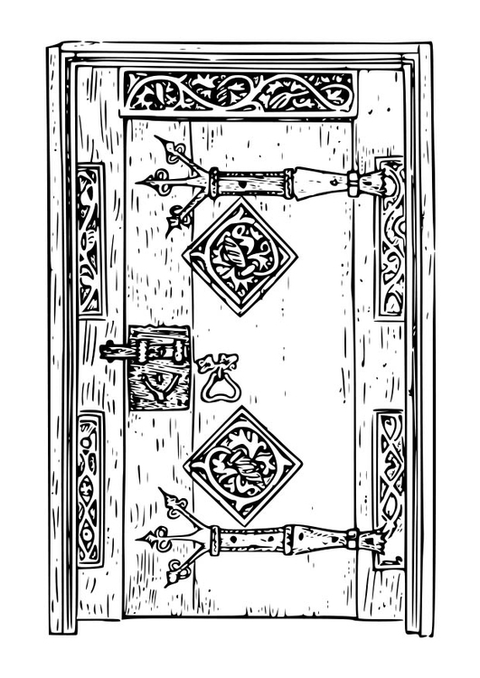 Coloring page old door