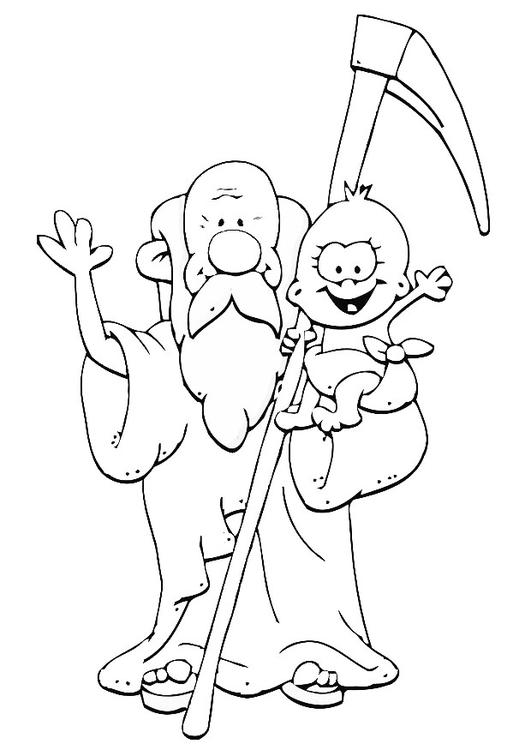 Coloring Page Old Father Time New Year Img 20241