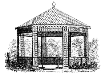 Coloring page old pavilion