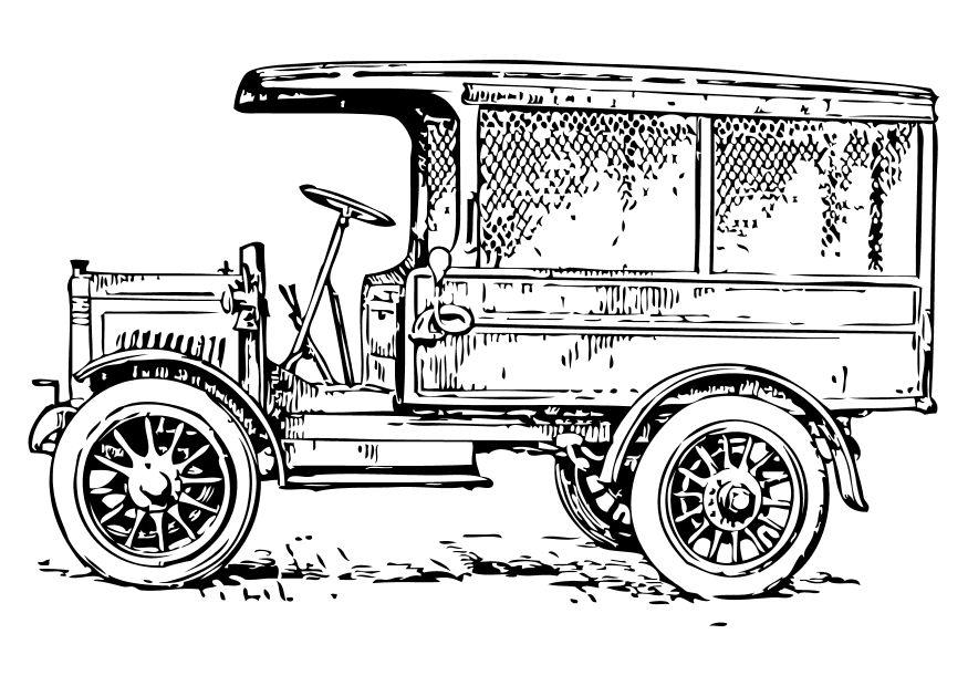 Coloring Page old truck - free printable coloring pages