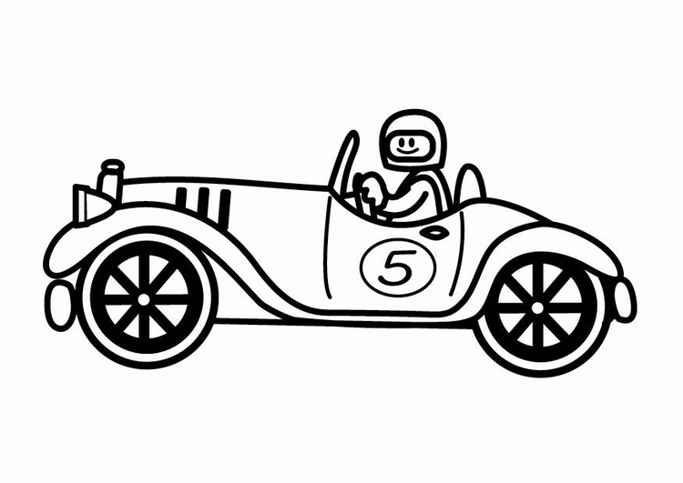 Coloring page oldtimer racing car