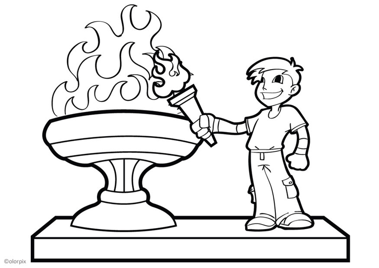 Coloring page olympic flame