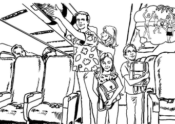 Coloring page on the airplane