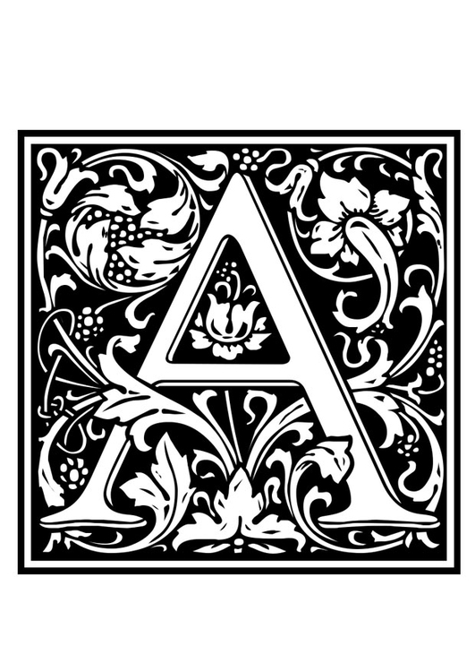 Coloring page ornamental alphabet - A