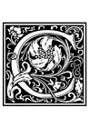 Coloring page ornamental alphabet - C
