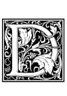 Coloring page ornamental alphabet - D