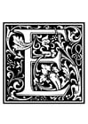Coloring page ornamental alphabet - E