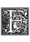 Coloring page ornamental alphabet - F