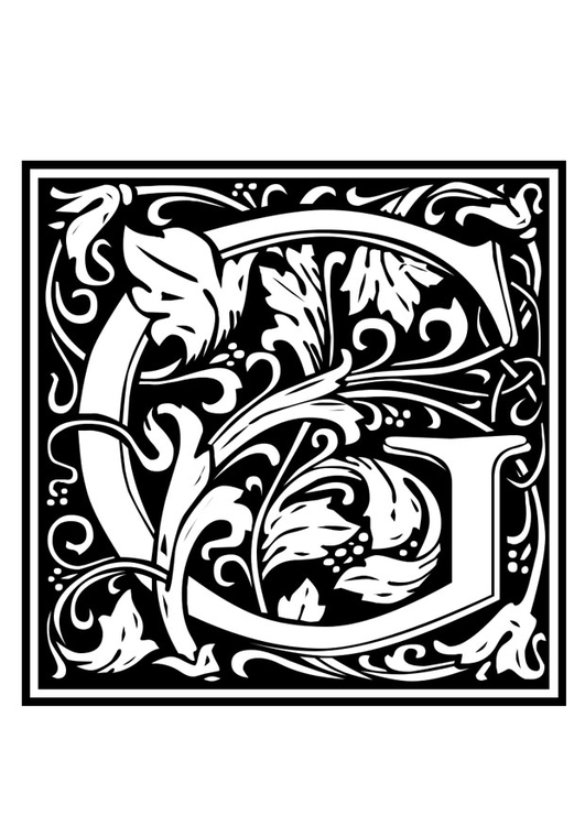 Coloring page ornamental alphabet - G