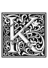 Coloring pages ornamental alphabet - K