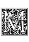 Coloring page ornamental alphabet - M
