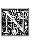 Coloring pages ornamental alphabet - N