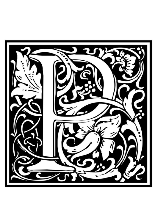 Coloring page ornamental alphabet - P