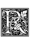 Coloring page ornamental alphabet - R