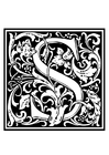 Coloring pages ornamental alphabet - S