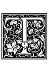 Coloring page ornamental alphabet - T
