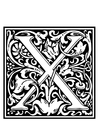 Coloring pages ornamental alphabet - X
