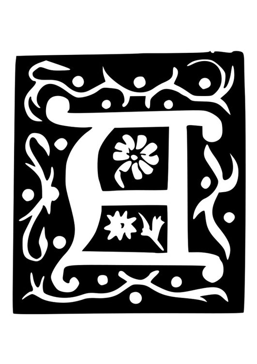 Coloring page ornamental letter - a