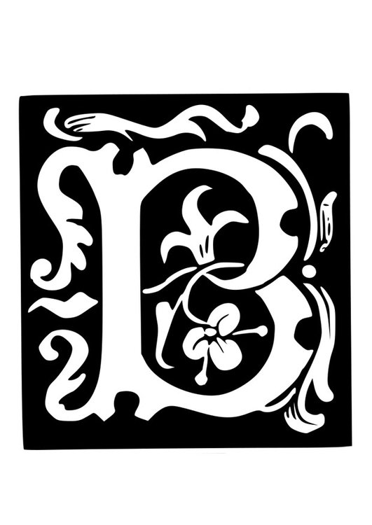 Coloring page ornamental letter - b